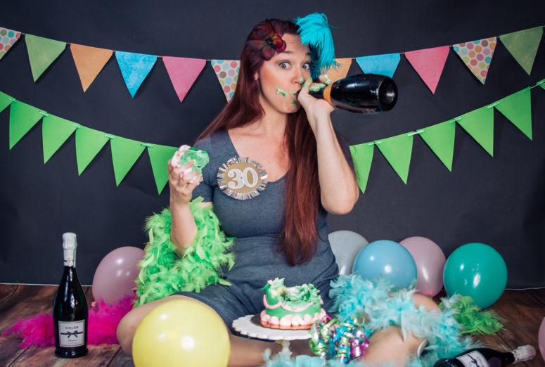 Adult Cake Smash in studio Catalytic Camera Tallahassee Florida