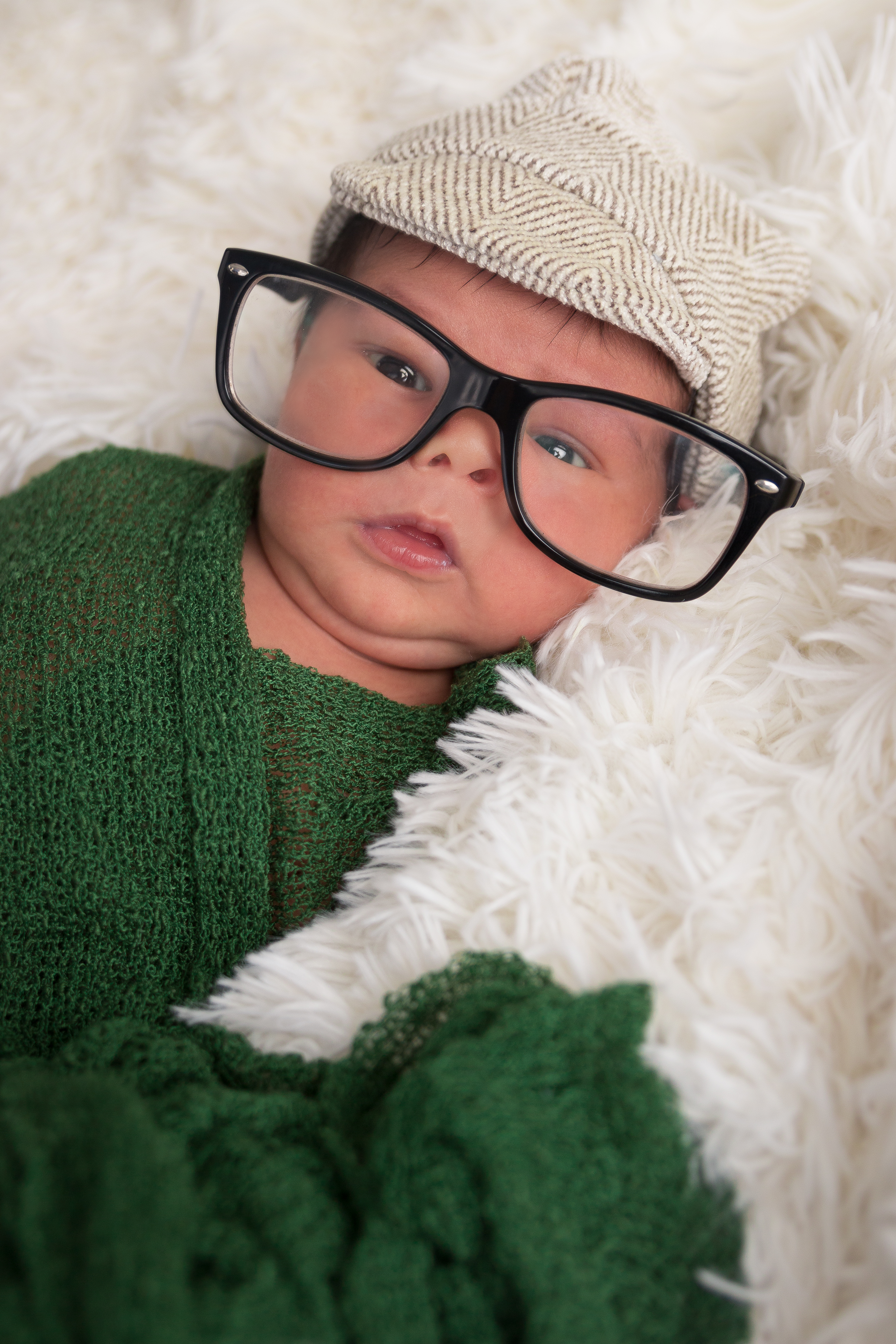 Newborn Photography tallahassee Baby with glasses